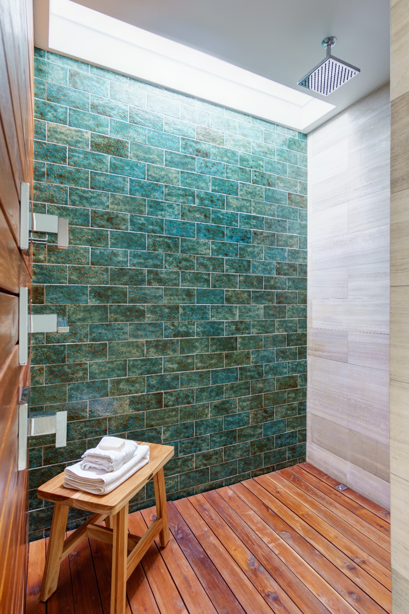 Natural lighting in renovated shower.