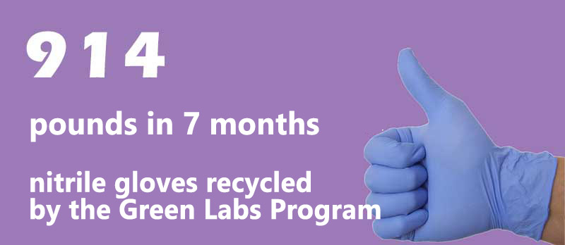 Nitrile glove recycling on campus
