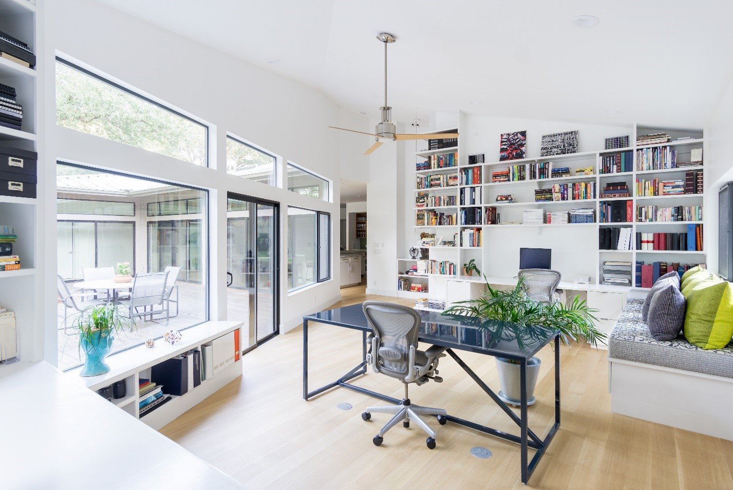Interior of renovated home including office space.