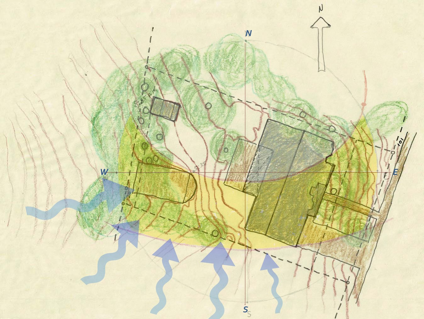 Site plan with existing building sun modeling and prevailing winds.