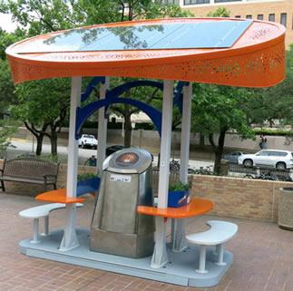 Solar station on library plaza.
