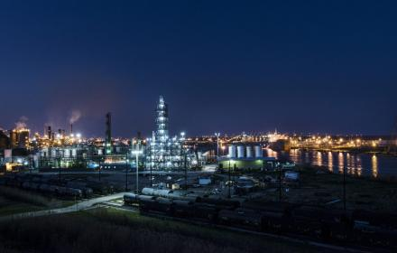 Energy infrastructure along the Gulf Coast at night.