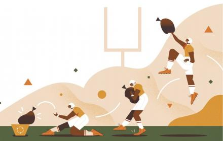 Cartoon of football player tossing a bag of trash