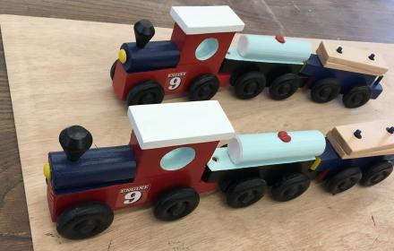 Wood trains built in UT Carpenter Shop