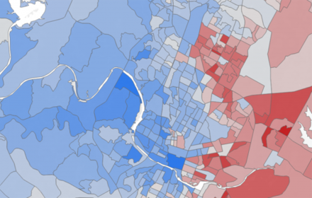Areas of environmental risk and social vulnerability in Austin